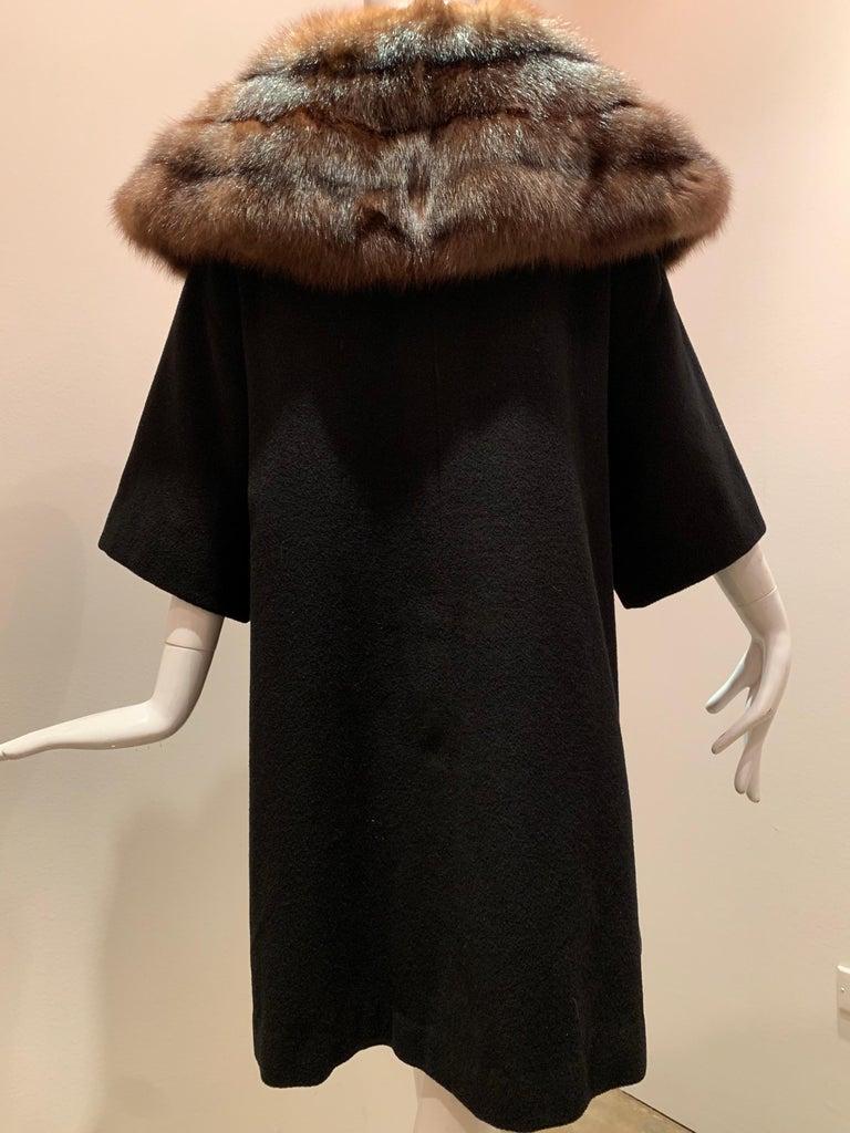 1950s Saks Fifth Avenue Black Cashmere Half-Belted Coat W/ Huge Sable Collar For Sale 7