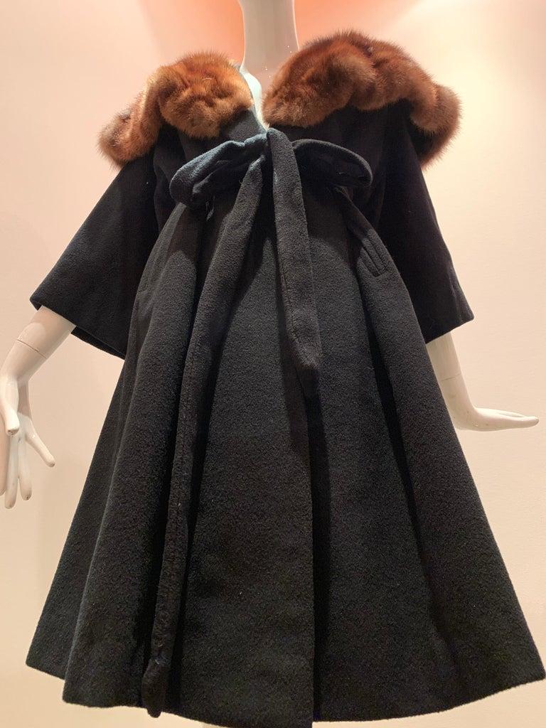 1950s Saks Fifth Avenue Black Cashmere Half-Belted Coat W/ Huge Sable Collar For Sale 8