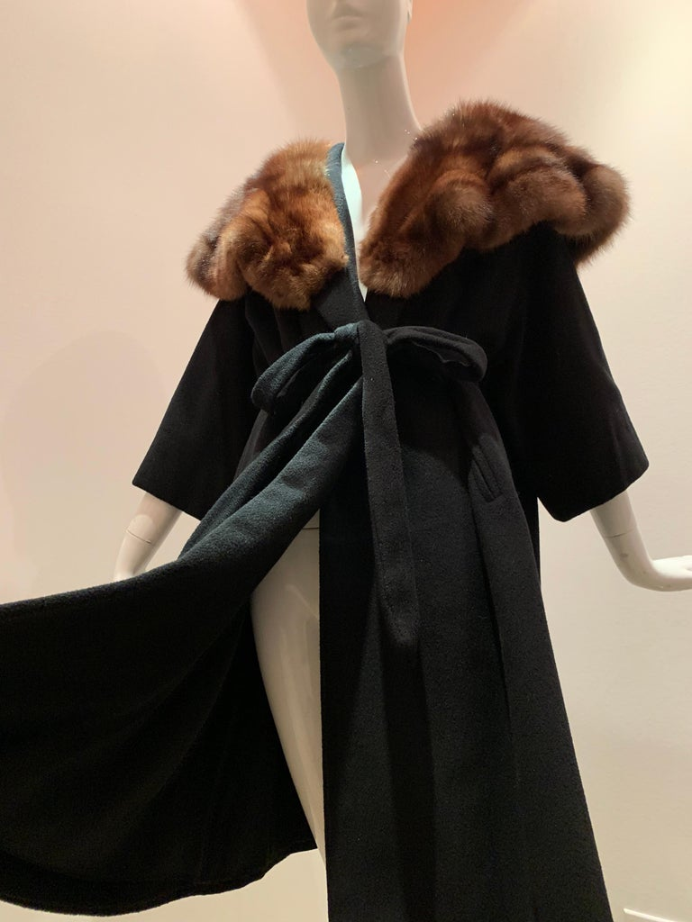 1950s Saks Fifth Avenue Black Cashmere Half-Belted Coat W/ Huge Sable Collar For Sale 9