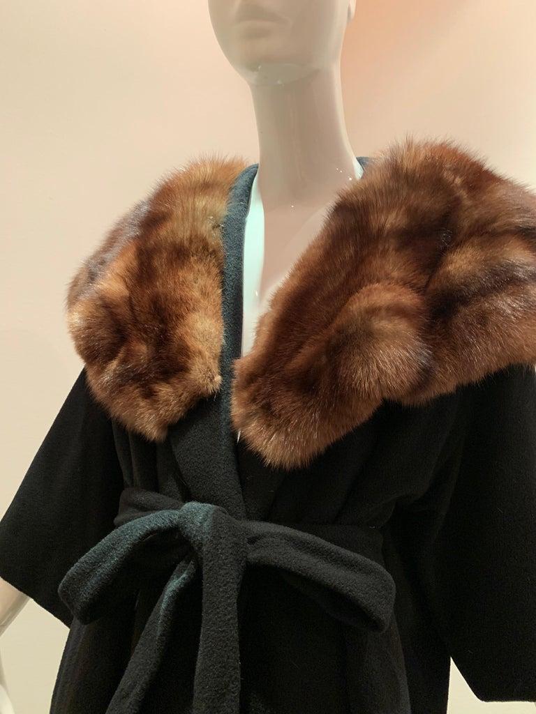 1950s Saks Fifth Avenue Black Cashmere Half-Belted Coat W/ Huge Sable Collar For Sale 10