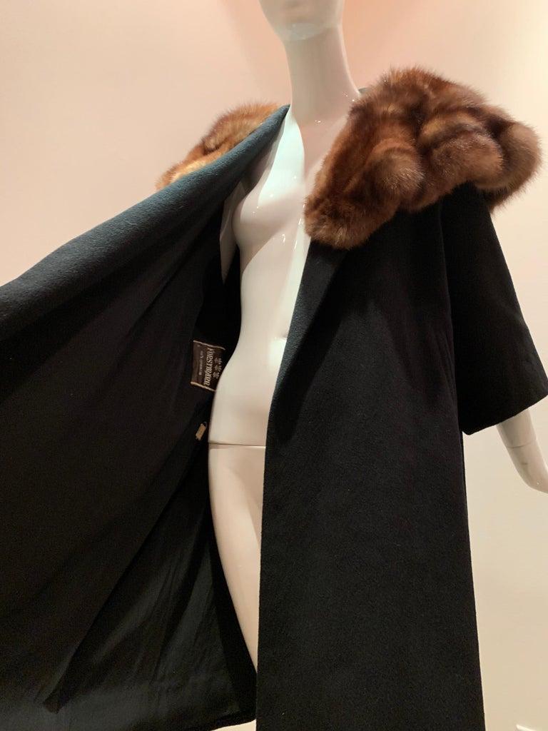 1950s Saks Fifth Avenue Black Cashmere Half-Belted Coat W/ Huge Sable Collar For Sale 11
