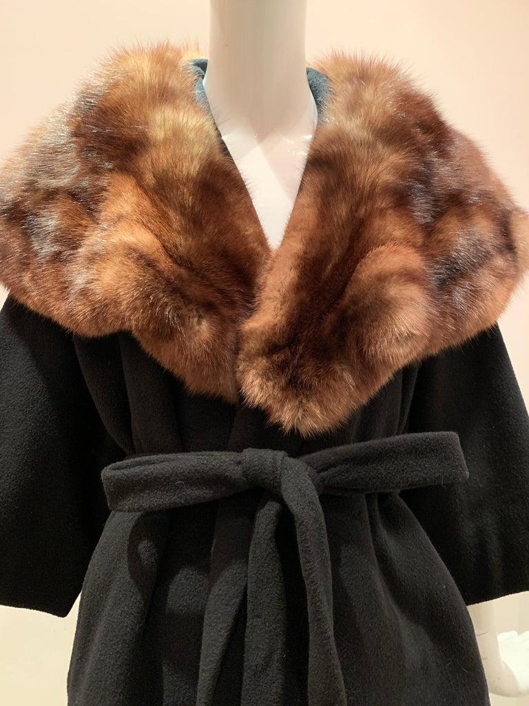 1950s Saks Fifth Avenue Black Cashmere Half-Belted Coat W/ Huge Sable Collar For Sale 12