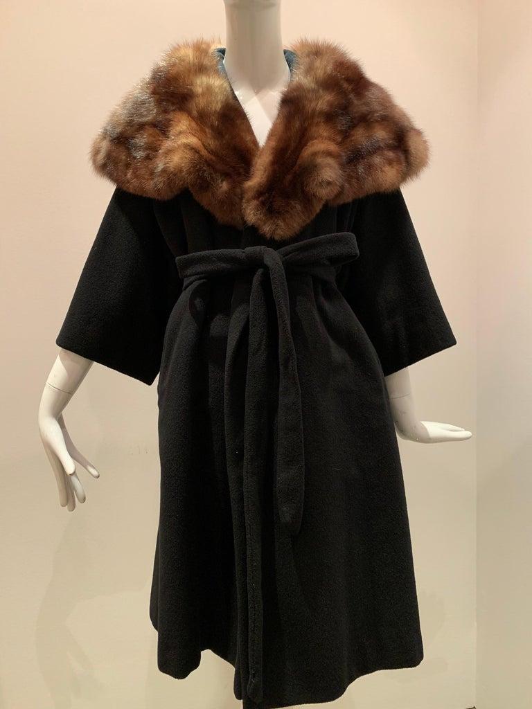 1950s Saks Fifth Avenue Black Cashmere Half-Belted Coat W/ Huge Sable Collar For Sale 13