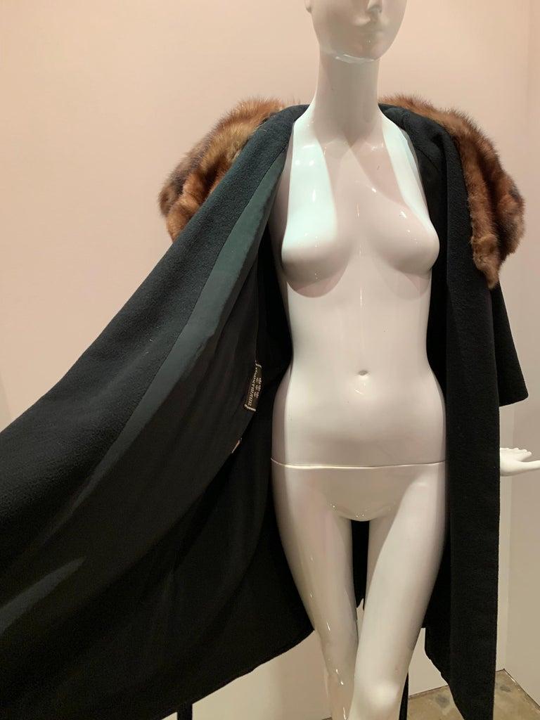 1950s Saks Fifth Avenue Black Cashmere Half-Belted Coat W/ Huge Sable Collar For Sale 14