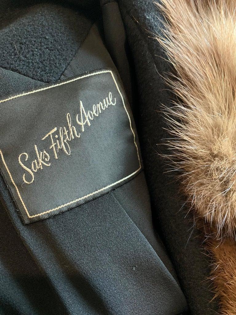 1950s Saks Fifth Avenue Black Cashmere Half-Belted Coat W/ Huge Sable Collar For Sale 16