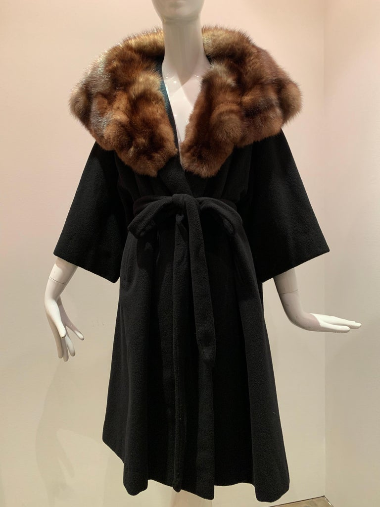 1950s Saks Fifth Avenue Black Cashmere Half-Belted Coat W/ Huge Sable Collar In Excellent Condition For Sale In San Francisco, CA