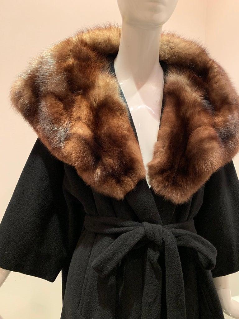 Women's 1950s Saks Fifth Avenue Black Cashmere Half-Belted Coat W/ Huge Sable Collar For Sale