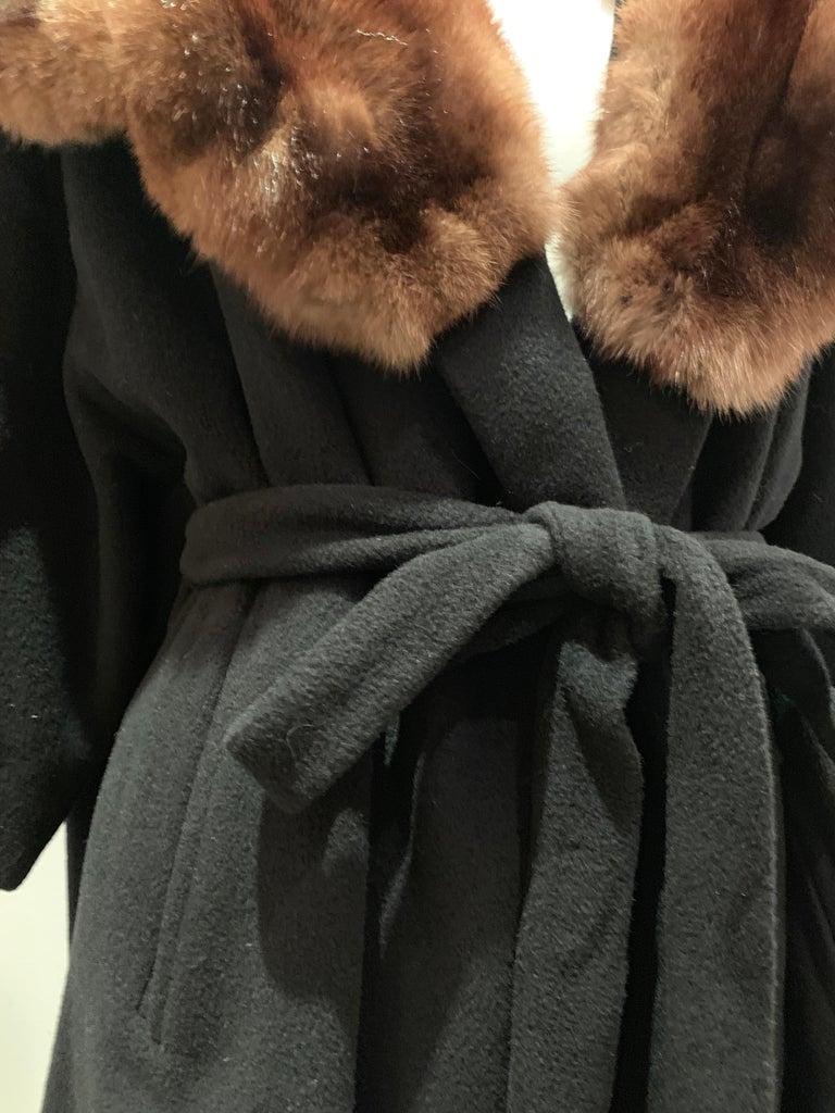 1950s Saks Fifth Avenue Black Cashmere Half-Belted Coat W/ Huge Sable Collar For Sale 1