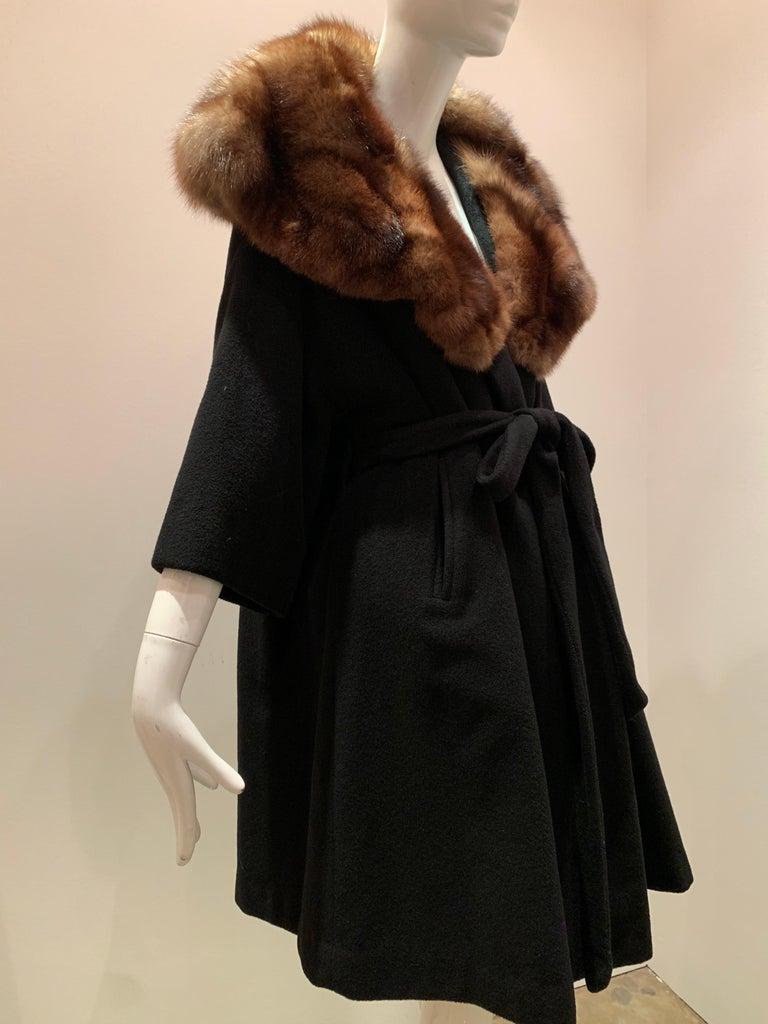 1950s Saks Fifth Avenue Black Cashmere Half-Belted Coat W/ Huge Sable Collar For Sale 2