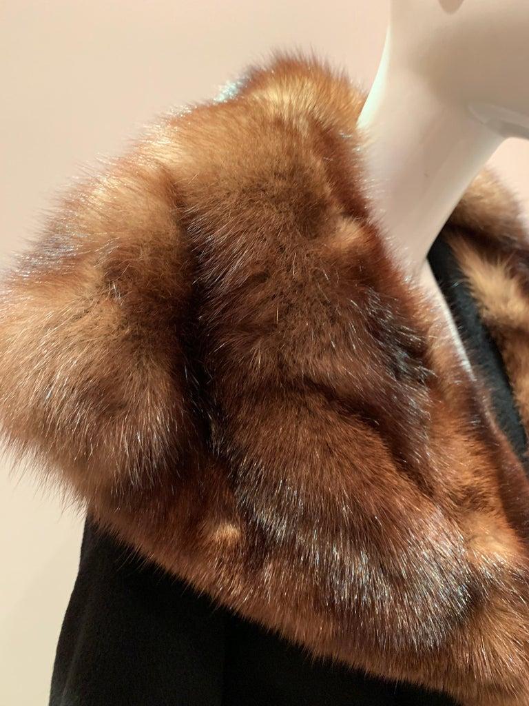 1950s Saks Fifth Avenue Black Cashmere Half-Belted Coat W/ Huge Sable Collar For Sale 3