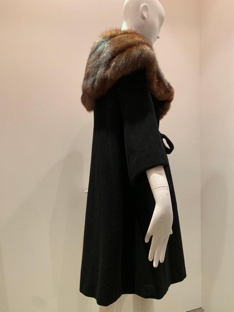 1950s Saks Fifth Avenue Black Cashmere Half-Belted Coat W/ Huge Sable Collar For Sale 4