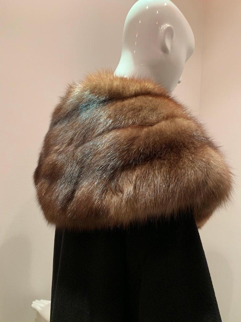 1950s Saks Fifth Avenue Black Cashmere Half-Belted Coat W/ Huge Sable Collar For Sale 5
