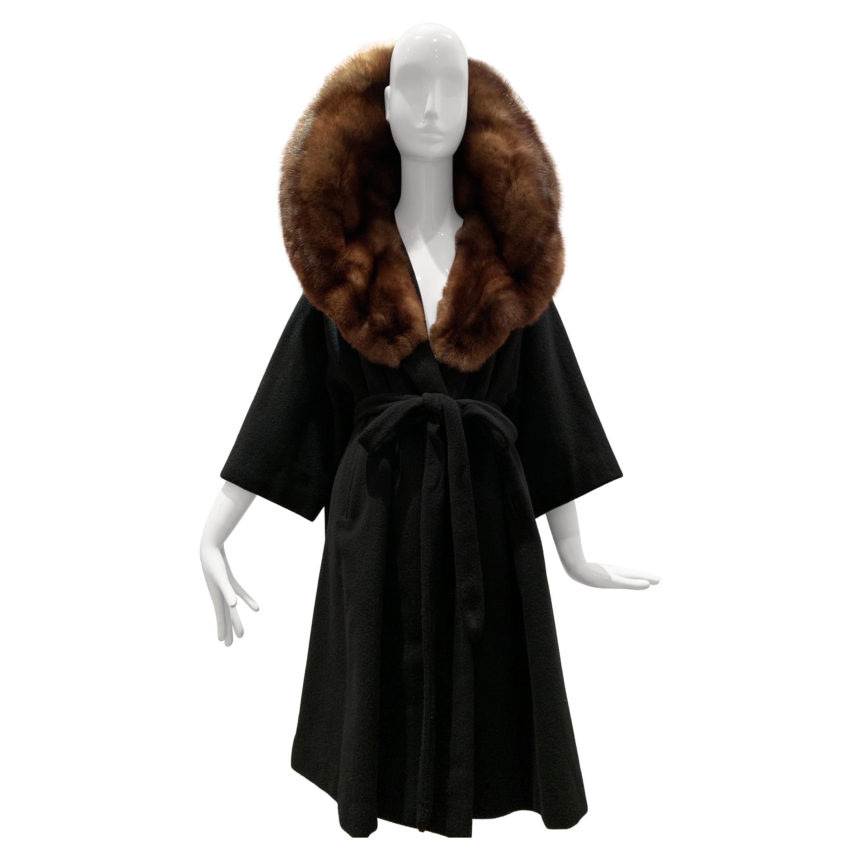 1950s Saks Fifth Avenue Black Cashmere Half-Belted Coat W/ Huge Sable Collar