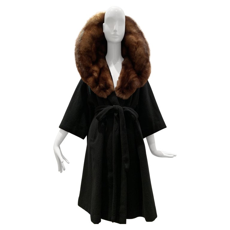1950s Saks Fifth Avenue Black Cashmere Half-Belted Coat W/ Huge Sable Collar For Sale