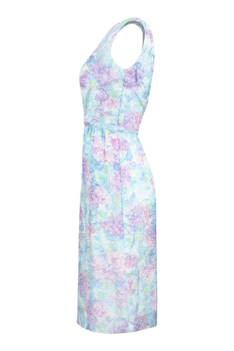 Blue 1950s Saks Fifth Avenue Embossed Wiggle Dress In Pastel Shades For Sale