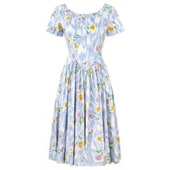 1950s Sambo Fashions Cotton Floral Print Dress With Full Skirt