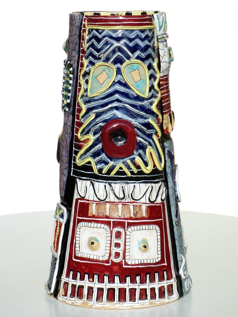 Mid-20th Century 1950s San Polo TOTEM Big Vase Otello Rosa Italian Pottery For Sale