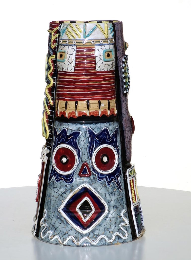 1950s San Polo TOTEM Big Vase Otello Rosa Italian Pottery For Sale 2
