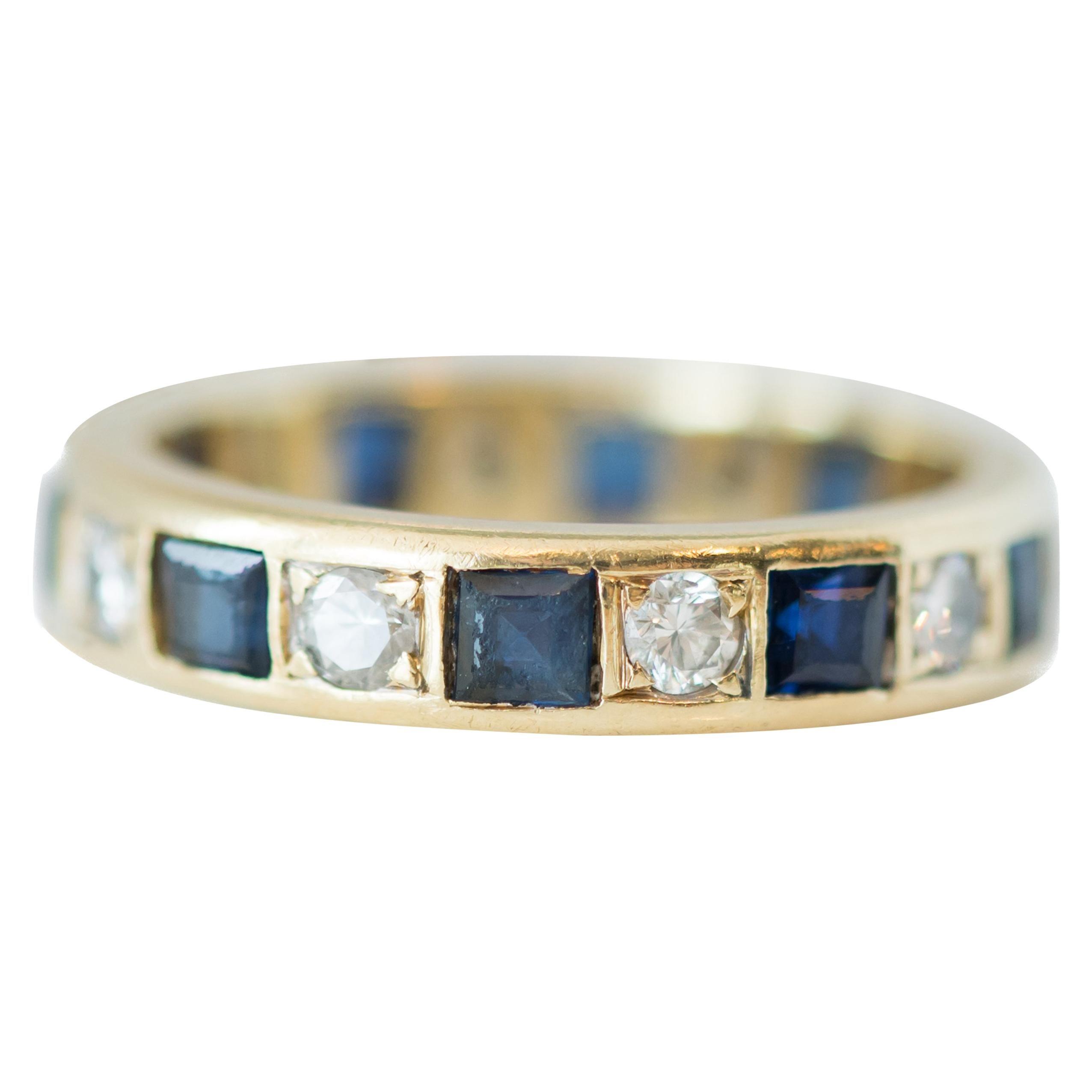 1950s Sapphire and Diamond 14 Karat Yellow Gold Eternity Band