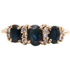 1950s Sapphire and Diamond Ring in 14 Karat Gold