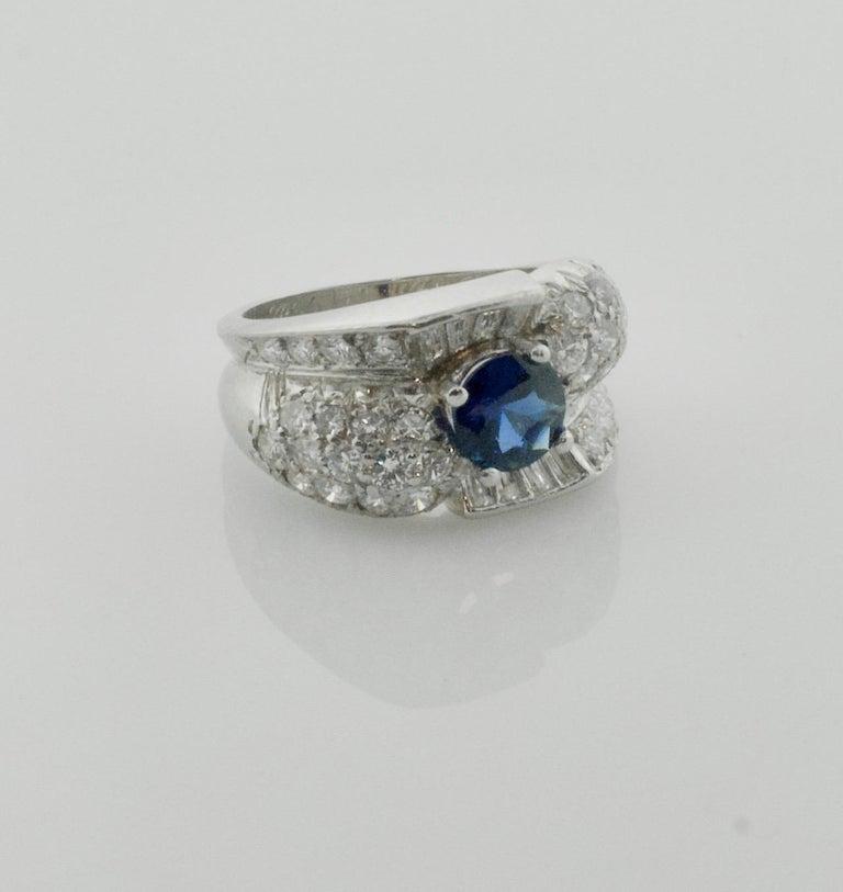 1950's Sapphire and Diamond Ring in Platinum