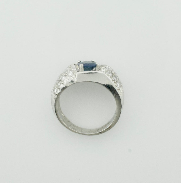 Modernist 1950s Sapphire and Diamond Ring in Platinum