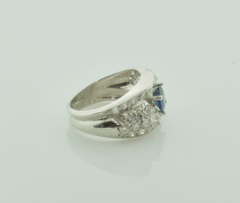 Round Cut 1950s Sapphire and Diamond Ring in Platinum