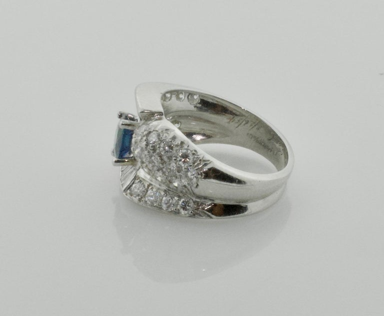 Women's or Men's 1950s Sapphire and Diamond Ring in Platinum