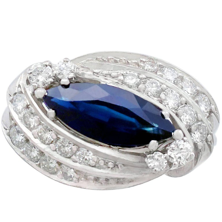 1950s Sapphire and Diamond White Gold Cocktail Ring