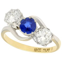 1950s Sapphire and Diamond Yellow Gold Trilogy Ring