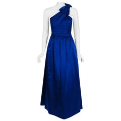 1950's Sapphire Blue Satin Asymmetric Pleated One-Shoulder Bow Evening Gown
