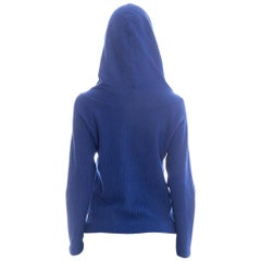 1950S Sapphire Blue  Wool Ribbed Hooded Sweater