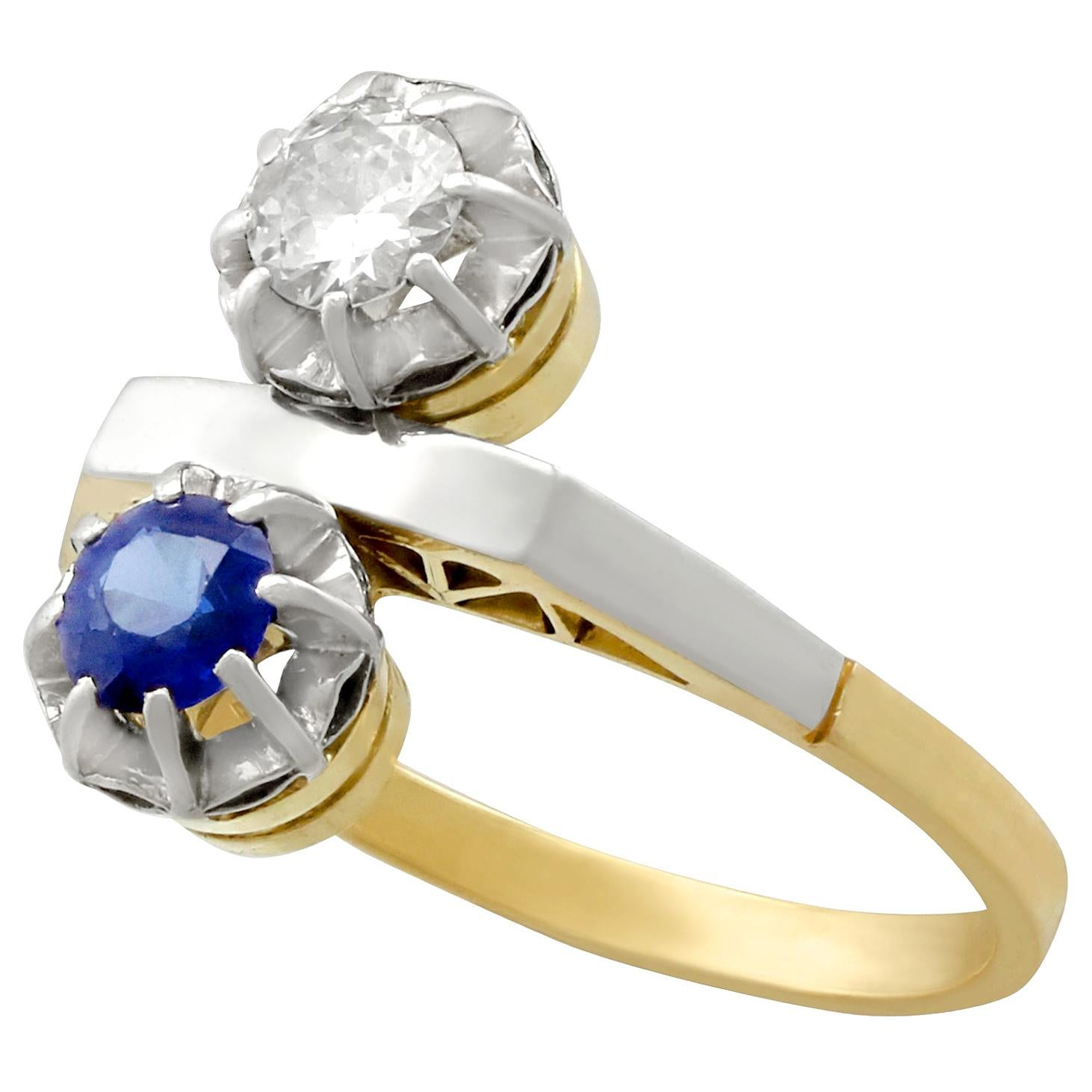 1950s Sapphire Diamond and Yellow Gold Cocktail Ring