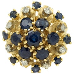 1950s Sapphire Diamond Flower Dome Cluster Yellow Gold Ring