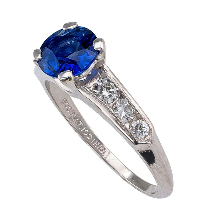 Modern 1950s Sapphire Diamond Platinum Engagement Ring For Sale