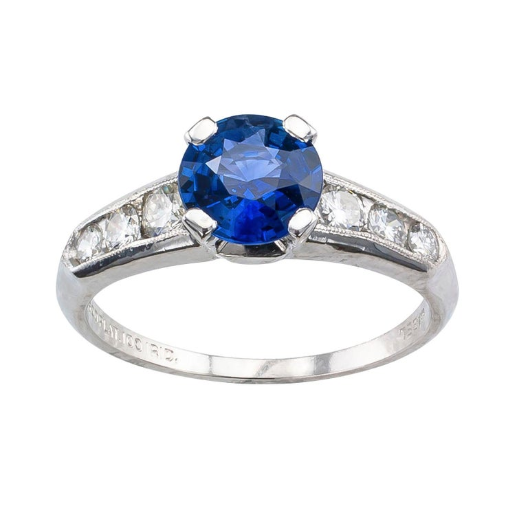 Round Cut 1950s Sapphire Diamond Platinum Engagement Ring For Sale