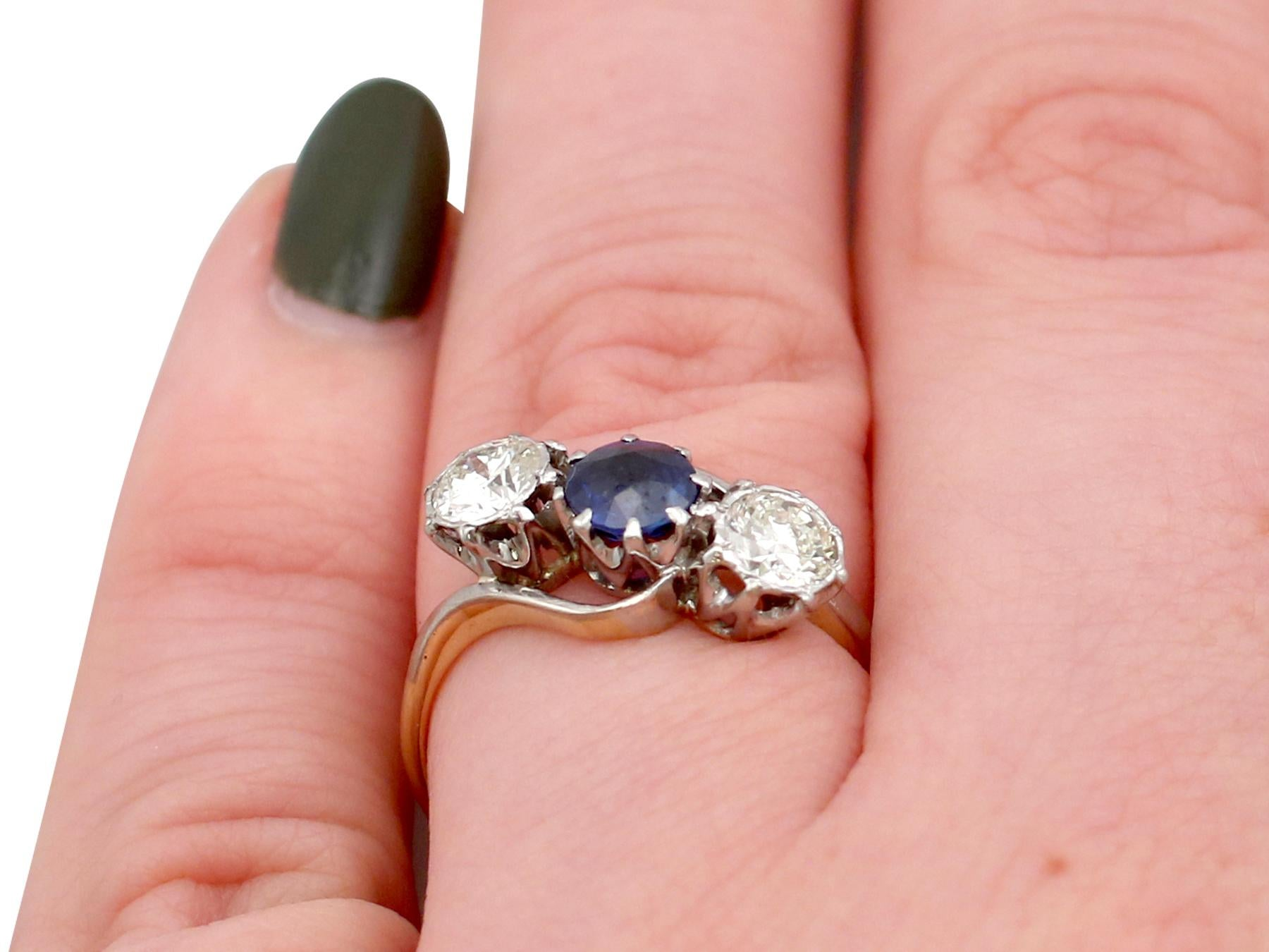 ab2a774355dc0 1950s Sapphire and Diamond Yellow Gold Trilogy Ring