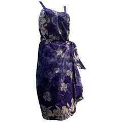 1950s Sarong-Style Cotton Sun Dress In Purple Tropical Print W/ Orchids