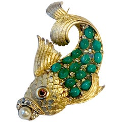 1950s Satin Gold Figural Brooch of Fish with Green Cabochon