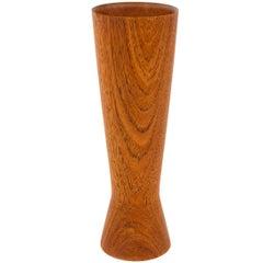 1950s Scandinavian Cinched Waist Teak Vase by Matador Traekunst