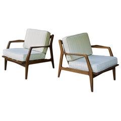 1950s Scandinavian Danish Beech Lounge Easy Chairs Ski Lodge Farmhouse Chalet