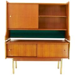 1950s Scandinavian High Sideboard in Solid Teak and Brass