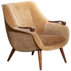 1950s, Scandinavian Lounge / Easy Chair in Camel Chenille and Teak, Denmark