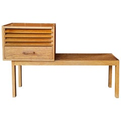 1950s Scandinavian Low Bench with Modular Cabinet