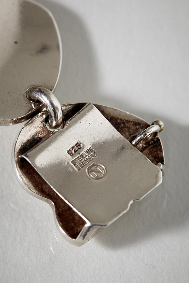 1950s Scandinavian Modern Sterling Silver Heart-Shaped Jewellery Set, Denmark For Sale 1