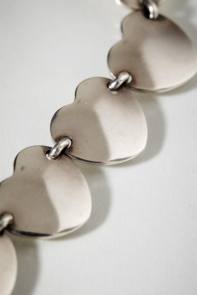 1950s Scandinavian Modern Sterling Silver Heart-Shaped Jewellery Set, Denmark For Sale 2