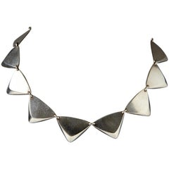 1950s Scandinavian Modern Sterling Silver Necklace by Hans Hansen, Denmark
