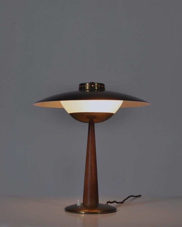 Danish 1950s Scandinavian Modern Table Lamp in Brass, Opal Glass and Teakwood For Sale