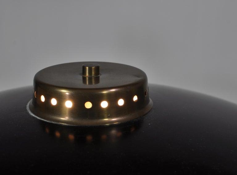 1950s Scandinavian Modern Table Lamp in Brass, Opal Glass and Teakwood For Sale 3