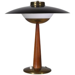 1950s Scandinavian Modern Table Lamp in Brass, Opal Glass and Teakwood